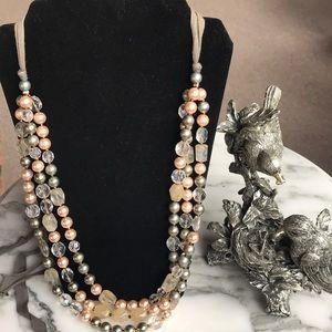 Triple Strand Blush & Silver Pearl Necklace
